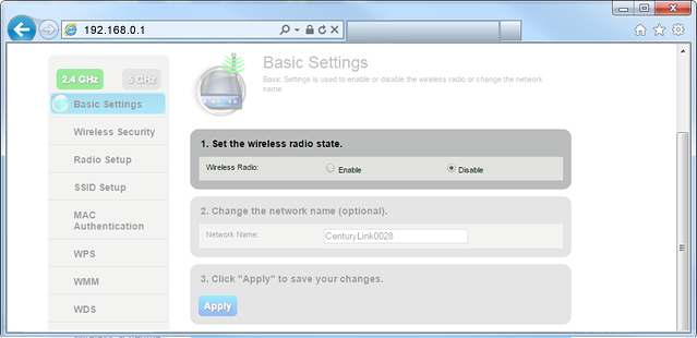 How to disable wifi for CenturyLink router – pcWRT